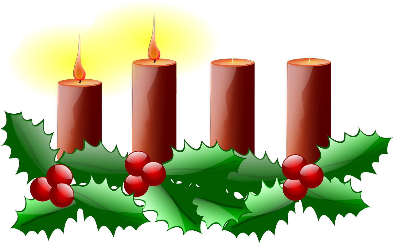 four red candles on a bed of holly, two of which are lit.