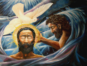 image of jesus in the water with John the baptist with a dove over his head